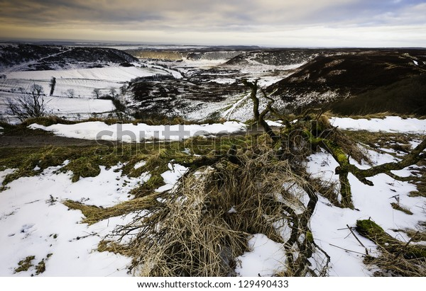 Hole of Horcum in winter near Goathland and Levisham in the midst of the North York Moors National Parkland, north Yorkshire, UK.