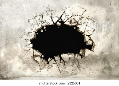 A Hole in a mortar wall perfect for pasting anything