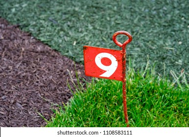 Hole number 9, Golf course, symbolic or sign at Golf clubs, Post number nine