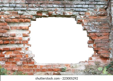 Hole in old brick wall. Hole isolated with clipping path for your text or images