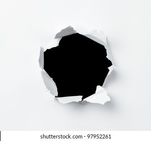 Hole punched in the paper sheet