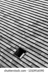 Hole in a rooftop in black and white