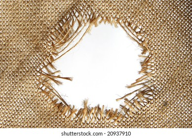 Hole torn in sackcloth