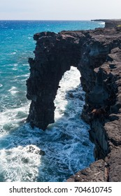 Holei Sea Arch, South coast of Big Island in the Hawaii Volcanoes National Park