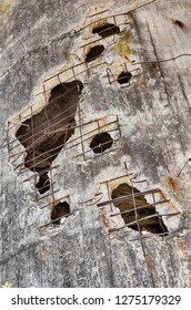 Holes in the concrete water tower at Yad Mordechai in Israel are a memory of the 1948 War between Israel, Egypt and other Middle East countries.