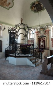HOLESOV, CZECH REPUBLIC - JUNE 16, 2018 - Interior of the Shah Synagogue called after rabbi Shabbatai HaKohen. It was built in the late 16th century. Today, the synagogue is a Museum