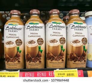Holetown, Barbados, 03/19/2018: Mocha Cappuccino drinks stand on a shelf of a local supermarket.