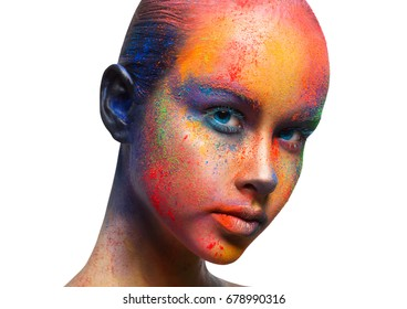 Holi colors. Studio portrait of young model with bright makeup, isolated on white background.