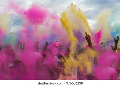 Holi festival color explosion powder