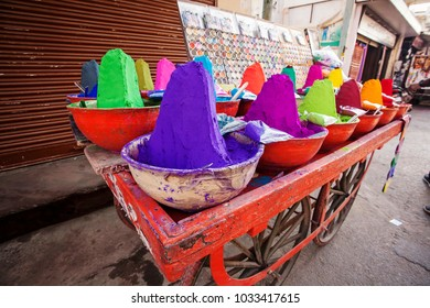 Holi festival dry colors for sale on the street in Pushkar city, India