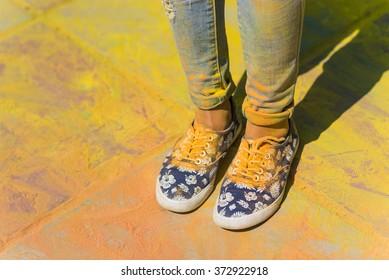 Holi painted legs