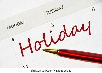 Holiday in the agenda