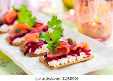 Holiday appetizer with salmon and beetroot