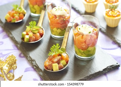 Holiday appetizers with smoked salmon and red caviar