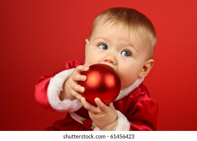 Holiday Baby on a red background