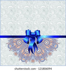 Holiday background with blue ribbon, raster version