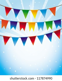 holiday background with bright flags -frame for greeting card