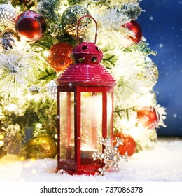 Holiday background with christmas lantern