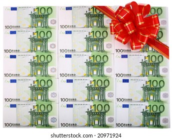 Holiday background of euro with red bow.