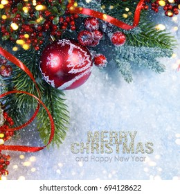 Holiday background, greeting card for Christmas and New Year