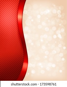 Holiday background with red gift ribbon. Raster version.