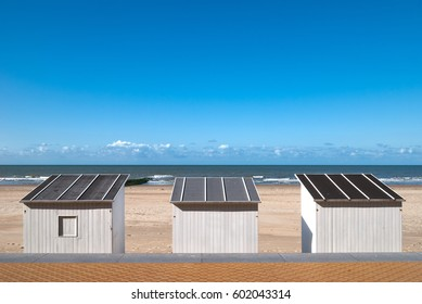 Holiday beach cabins in summer on the beach of Ostend, Belgium.