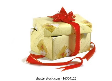Holiday box of yellow with the red ribbons