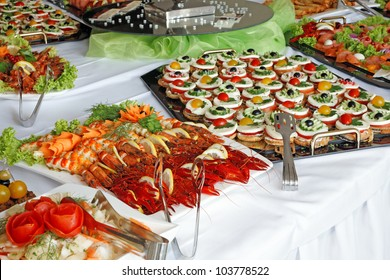Holiday buffet food on the table.