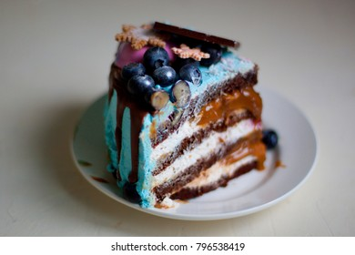 holiday cake blue pink with berries
