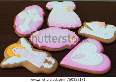 Holiday Cakes With Pink White Glaze Shapes Of Girl Bird Heart Dress Focus On Central Cake