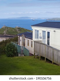 Holiday caravan park on a coast with sea view, St. Ives, Cornwall, England, UK.