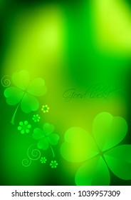 Holiday card for St. Patrick's Day in March 17. Green blurred background with shamrocks. Raster illustration