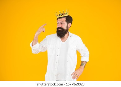 Holiday carnival celebration. brutal guy prince yellow background. King of party. Egoist selfish man. Superstar concept. Royal status. Sense of self importance. Love yourself.