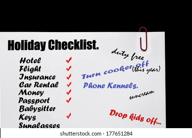 Holiday Checklist sign for holidays and traveling abroad.