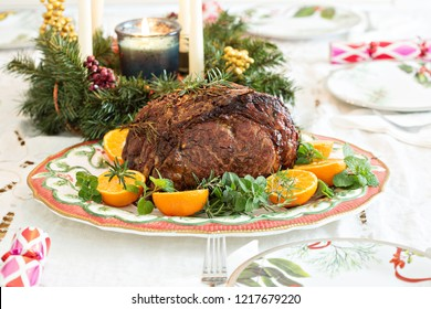 Holiday Christmas prime rib beef roast on the table