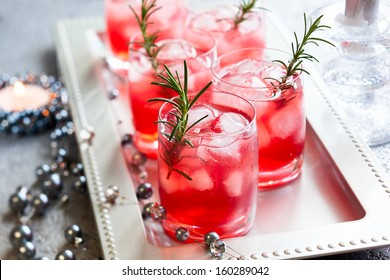 Holiday cocktails for Christmas on tray
