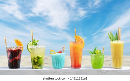 Holiday cold cocktails on the beach