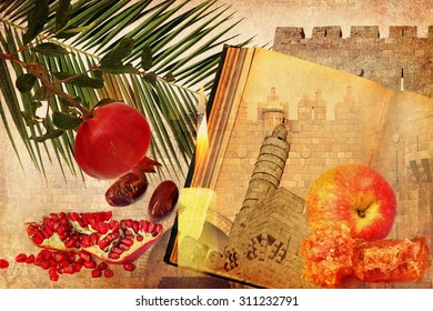 Holiday composition of Rosh HaShana (Judaic New year) on textured old paper with Jerusalem historical architecture and traditional food for holiday - apple, pomegranate, date fruit.Textured collage