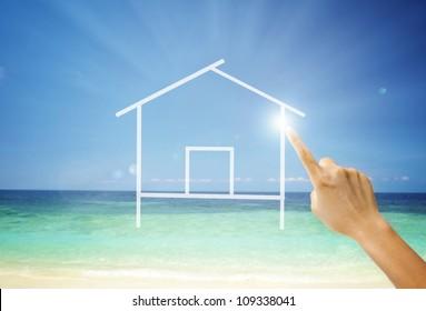 holiday concept photo, hut on sea