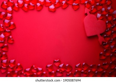 Holiday concept. Valentine's Day. Copy space for inscriptions.glass hearts