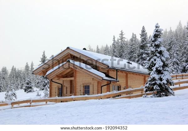 Holiday cottage, Alpine scenery.  Skiing Resort Zillertal Arena. Gerlos, Austria.