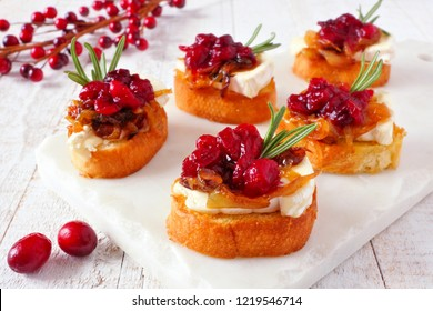 Holiday crostini appetizers with cranberries, brie and caramelized onions. Close up table scene on a white platter.