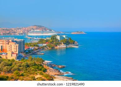 Holiday cruise ships in the port of kusadasi - Kusadasi, Turkey, on the Aegean Coast