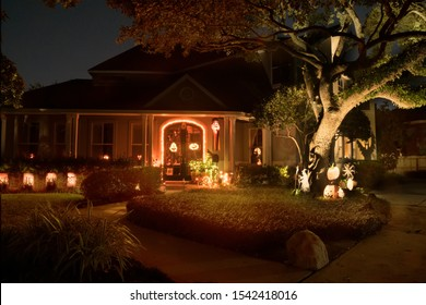 Holiday Decorated House Halloween. Night scene, backlight, shadow. Houston, Texas, USA