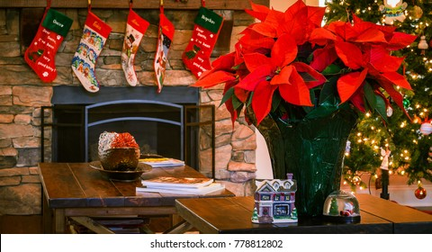 Holiday decorated living room with vibrant pointsettia and classic christmas design