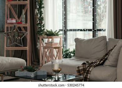 Holiday decoration. Christmas interiors in daylight