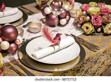 holiday decoration on party table in gentle colors