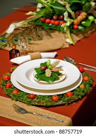 holiday decoration on party table in bright colors