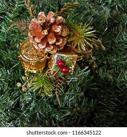 Holiday decorations colorful gold evergreen