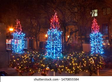 Holiday decorations of Hviezdoslav square (Hviezdoslavovo namestie) in Bratislava. Slovakia